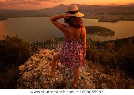 magányos · nő · hegyek · áll · messze · messze - stock fotó © ankarb