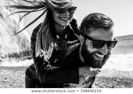 fashion couple in black leather  Stock photo © godfer