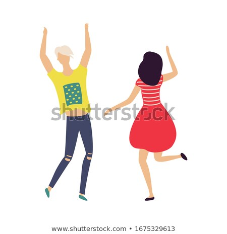 Modern dancer in yellow dress isolated on white Stock photo © Elnur