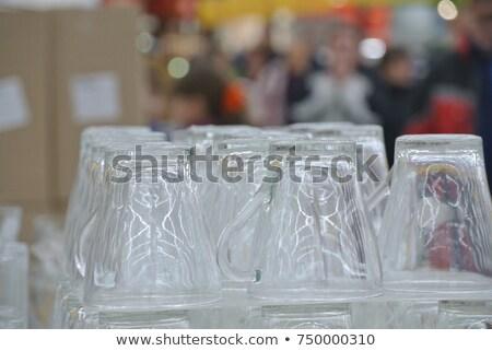 Cam fincan su boş beyaz arka plan Stok fotoğraf © limpido