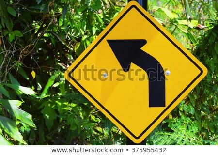 panneau · routier · tourner · route · nature · désert - photo stock © stevanovicigor