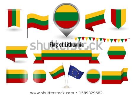 квадратный наклейку флаг Литва изолированный белый Сток-фото © MikhailMishchenko