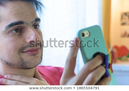 Mężczyzna gej para tęczy Zdjęcia stock © dolgachov