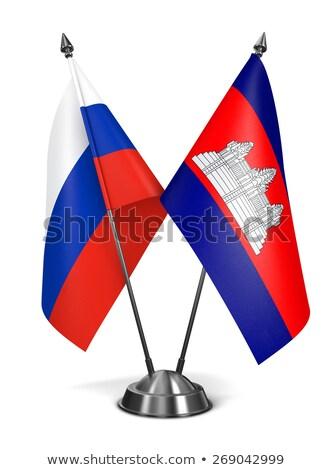 Россия Камбоджа миниатюрный флагами изолированный белый Сток-фото © tashatuvango
