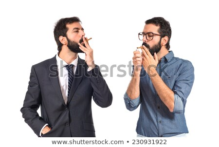 Photo stock: Jeunes · homme · d'affaires · fumer · cigarette · vue · de · côté
