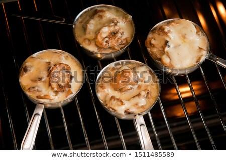 Champignon heerlijk champignon houten servet rustiek Stockfoto © zhekos