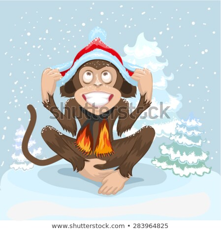 8b64092a9b255 Macaco · sessão · neve · boné · papai · noel · ilustração ...
