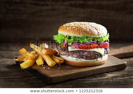 домашний гамбургер свежие овощи картофель фри пластина Сток-фото © Kayco