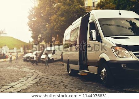 マイクロバス 道路 運転 風景 赤 ビジネス ストックフォト © prill
