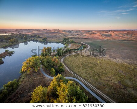 sunrise over Poudre River - aerial view Stock photo © PixelsAway