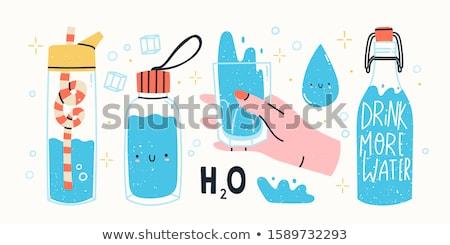 Vidrio agua hielo oscuro azul beber Foto stock © cookelma