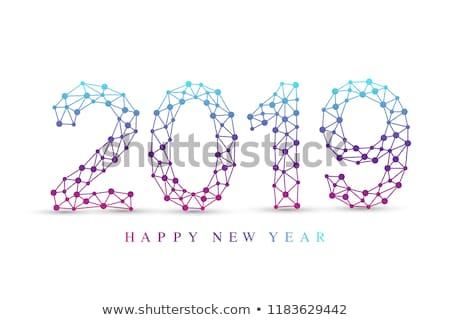 Winter hexagon dots geometric vector background. Stock photo © lenapix