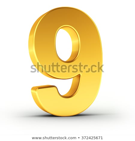 The number nine as a polished golden object with clipping path ...