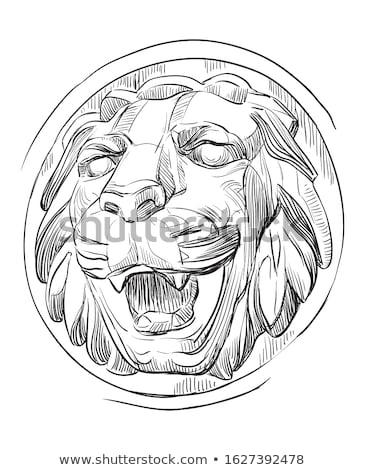 ancient marble lion head bas relief stock photo © dariazu