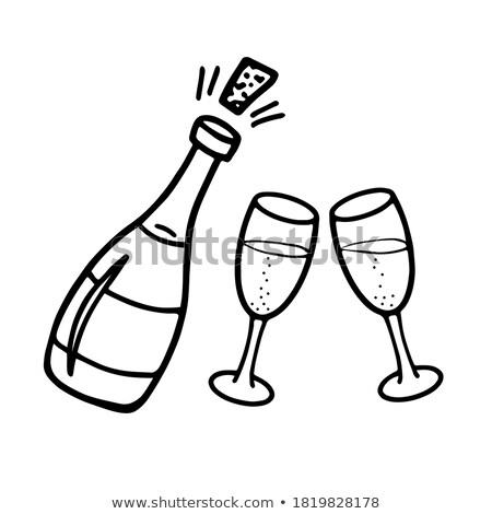 шампанского · очки · рисованной · эскиз · икона - Сток-фото © pakete