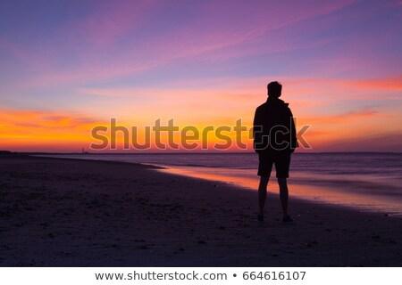 dramatic sunset on the empty beach cape cod usa stock photo © capturelight