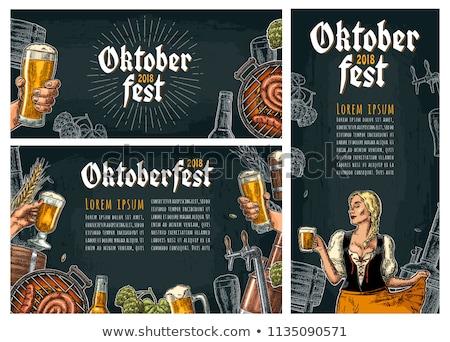Oktoberfest cerveza camarera ilustración hermosa jóvenes Foto stock © Kakigori