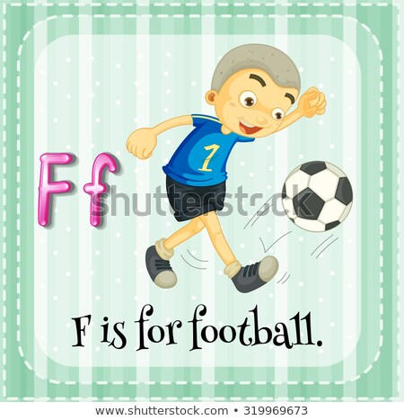Flashcard letter F is for football Stock photo © bluering