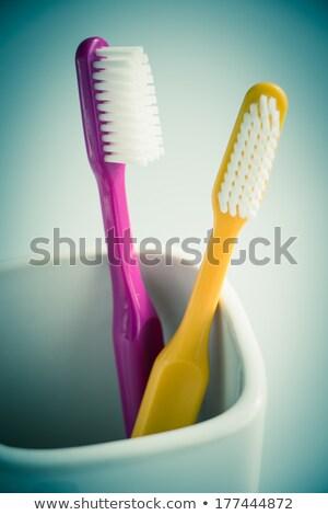 creme · dental · casal · limpar · rosa · fresco · juntos - foto stock © oleksandro