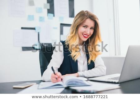 Stock fotó: Csinos · üzletasszony · portré · mosolyog · tart · jegyzettömb