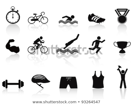 Stock fotó: Triathlon Icon And Sport Medals