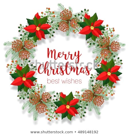 Christmas floral wreath, round frame, blank banner, poinsettia clip art, vector illustration isolate Stock photo © teirin_toys