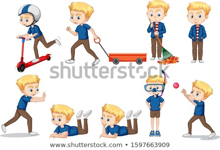 Boy in blue shirt in different actions Stock photo © bluering