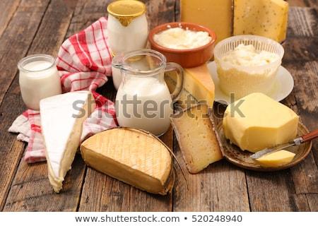 tejtermékek · festett · fa · asztal · kék · sajt · tej - stock fotó © m-studio