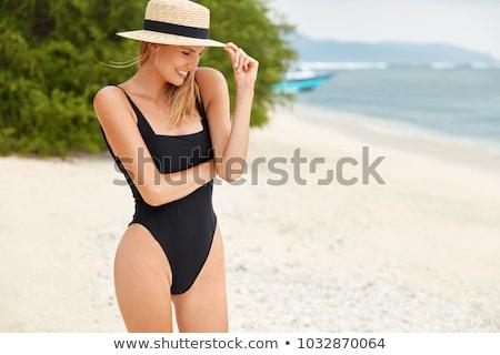 женщину · черный · купальник · ржавые · металл · привлекательный - Сток-фото © deandrobot