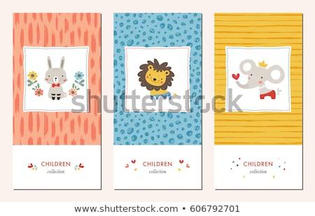 groet · sjabloon · cute · kinderen · verjaardagsfeest · cartoon - stockfoto © lucia_fox