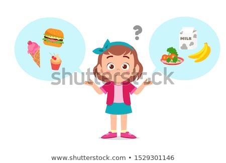 Crianças alimentação saudável alimentos não saudáveis ilustração menina criança Foto stock © bluering
