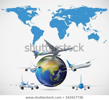 Мир · карта · полет · пути · 3D · синий · аннотация - Сток-фото © bluering