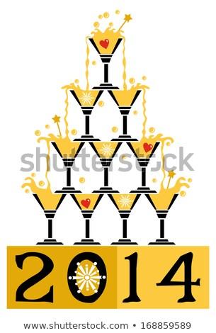 Pirámide martini gafas fiesta evento humo Foto stock © O_Lypa