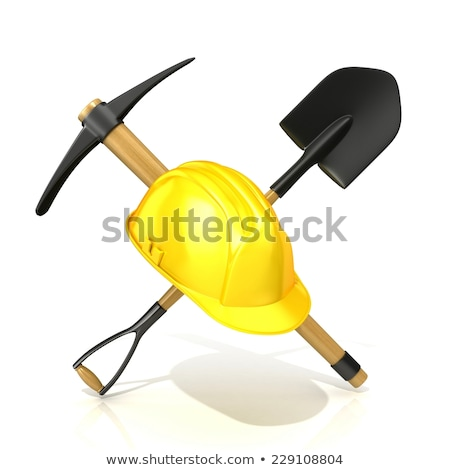 Mining tools, shovel, pickaxe and safety helmet. 3D Stock photo © djmilic
