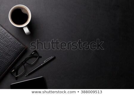 Biuro skóry biurko tabeli notatnika kawy Zdjęcia stock © karandaev
