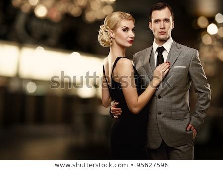 Retro ricos mujer vestido negro hermosa vidrio Foto stock © ssuaphoto