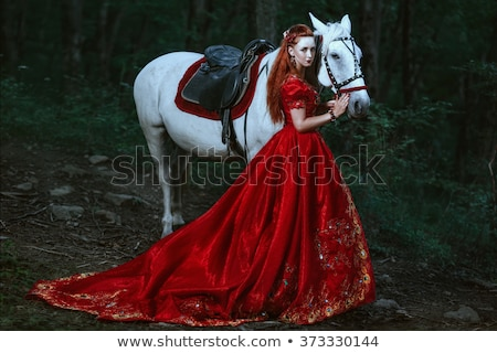 Woman in red dress in fairy forest. Stock photo © artfotodima