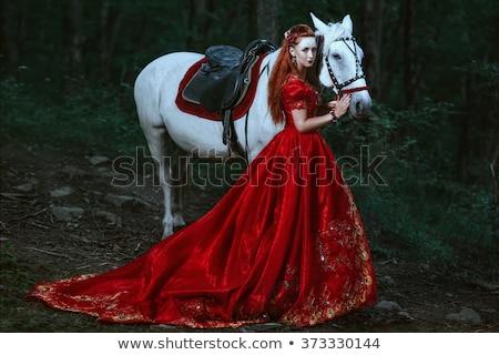 Mujer vestido rojo hadas forestales sexy moda Foto stock © artfotodima