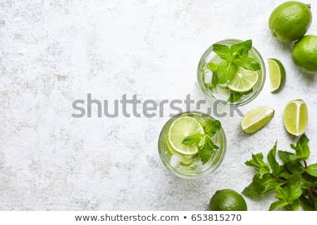 Lemon mojito cocktail with mint, cold refreshing drink or beverage, view from above Stock photo © yelenayemchuk