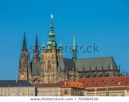 Cathedral of St. Vitus, Prague castle and the Vltava River Stock photo © artush