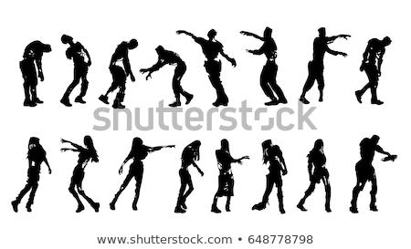 scary zombie woman walking vector illustration stock photo © robuart