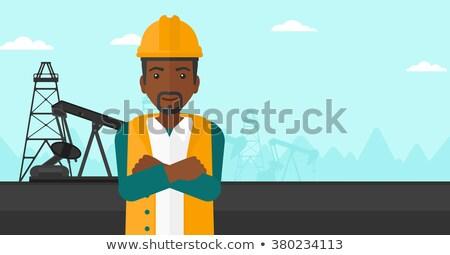 pracownik · olej · kask · stałego · broni · wektora · projektu - zdjęcia stock © rastudio