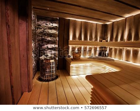 sauna · interior · caliente · velas · spa · limpio - foto stock © gravityimaging