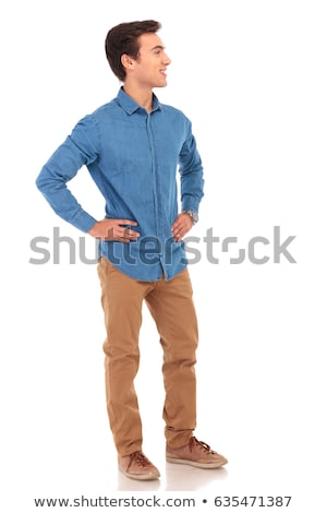 full body of a man with hands on waist waiting Stock photo © feedough