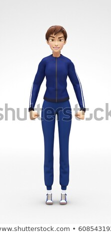 Angry, Frowning and Stressed Jenny - 3D Cartoon Female Character Sports Model Stock photo © Loud-Mango