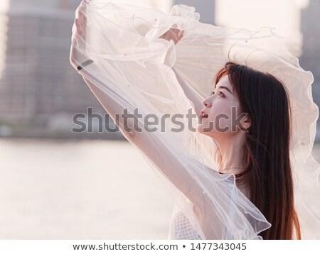 Beautiful brunette asian woman as bride on white background Stock photo © artfotodima