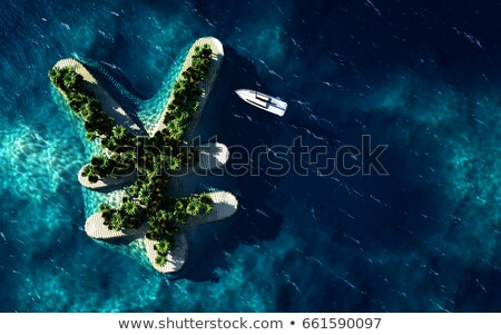 Tropical island in the form of the Yen symbol Stock photo © maxmitzu