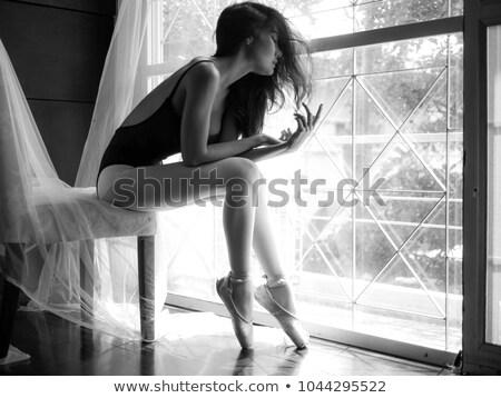 Stok fotoğraf: Güzel · genç · balerin · poz · sandalye · yalıtılmış