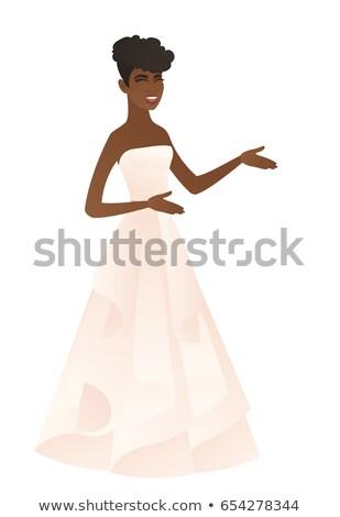 Jonge verloofde witte jurk handen Stockfoto © RAStudio