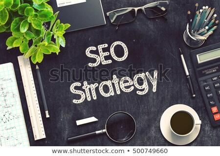 Photo stock: Seo · stratégies · tableau · bureau · 3d · illustration · vert